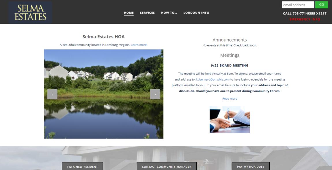 HOA website design for Selma Estates