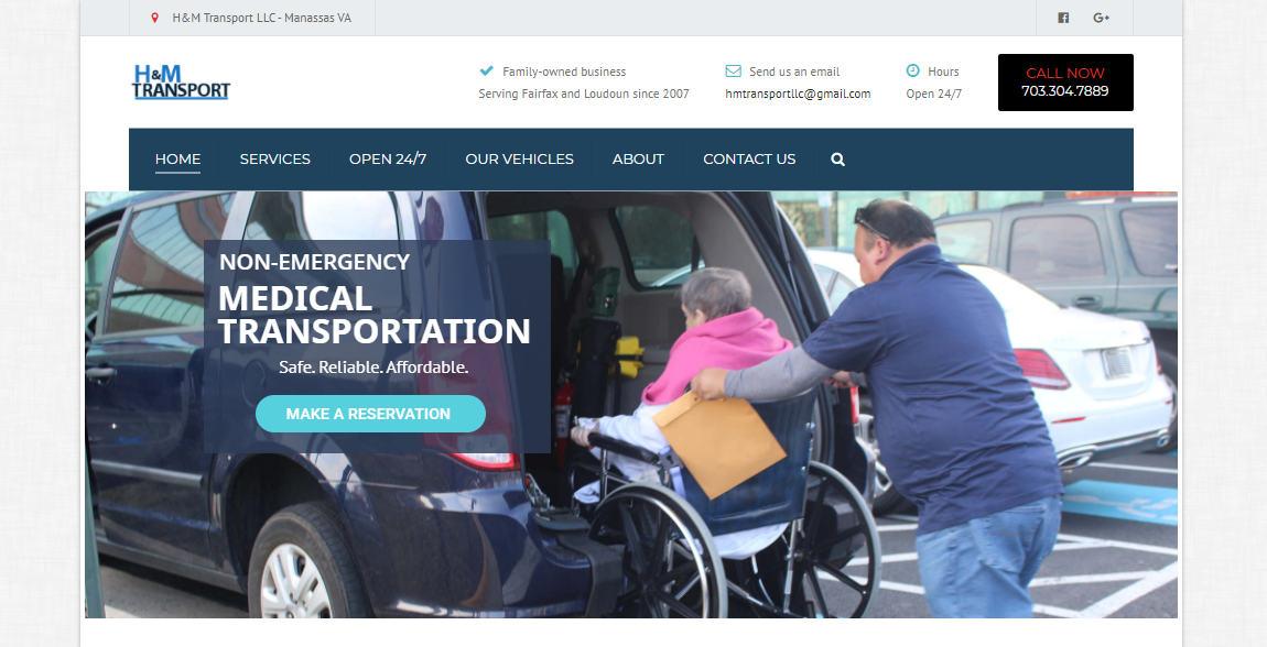 Medical Transport Website Design