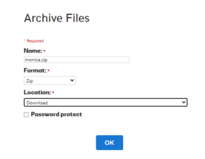 Archiving files on GoDaddy classic hosting
